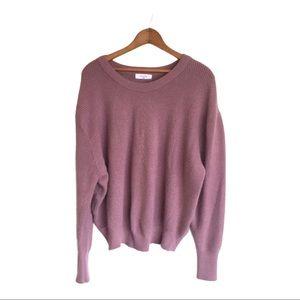 🍋 ELODIE Dusty Lavender Scoop Neck Knit Sweater